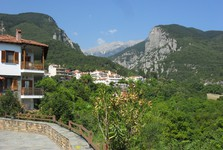 Litochoro - výhľad na pohorie Olymp