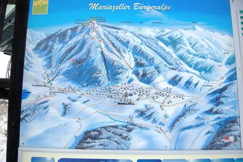 Mapa lyžařského střediska Mariazeller – Bürgeralpe
